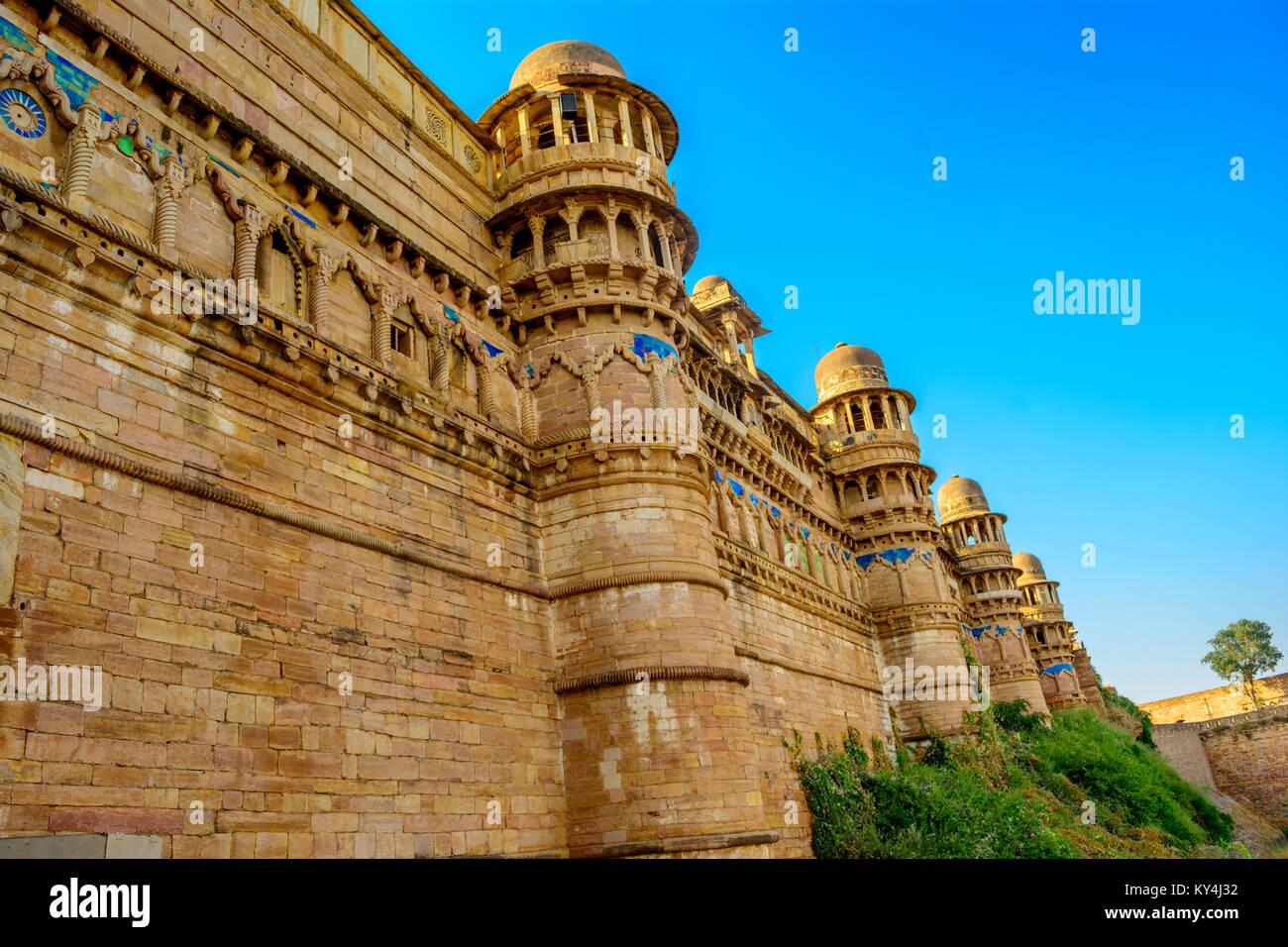 Mur Fort De Gwalior Gwalior Dans Le Madhya Pradesh En Inde Banque D