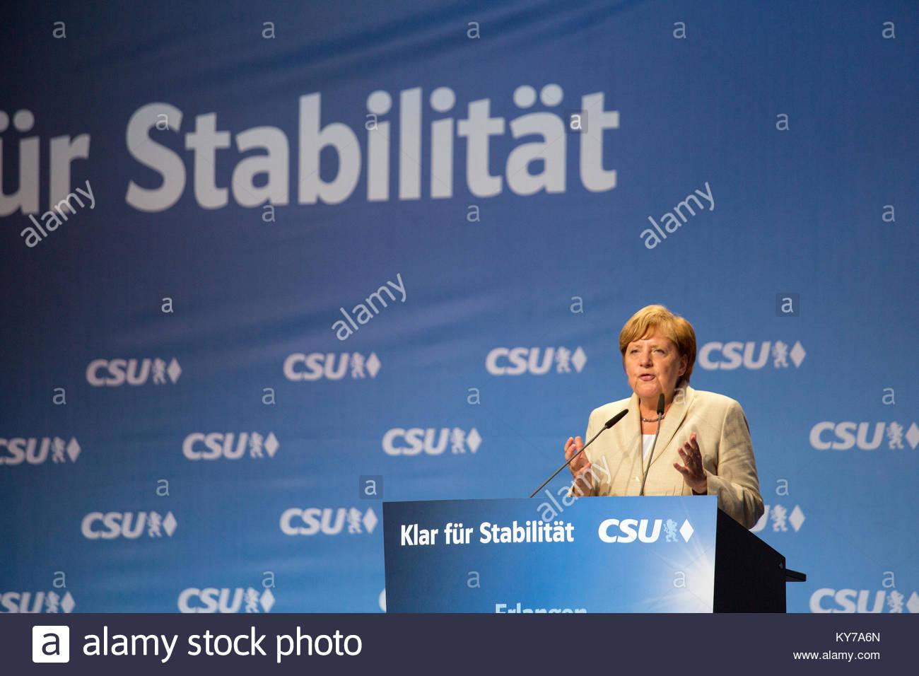 Leader allemand, Angela Merkel, s'exprimant lors d'une campagne électorale organisée par la CDU, Photo Stock