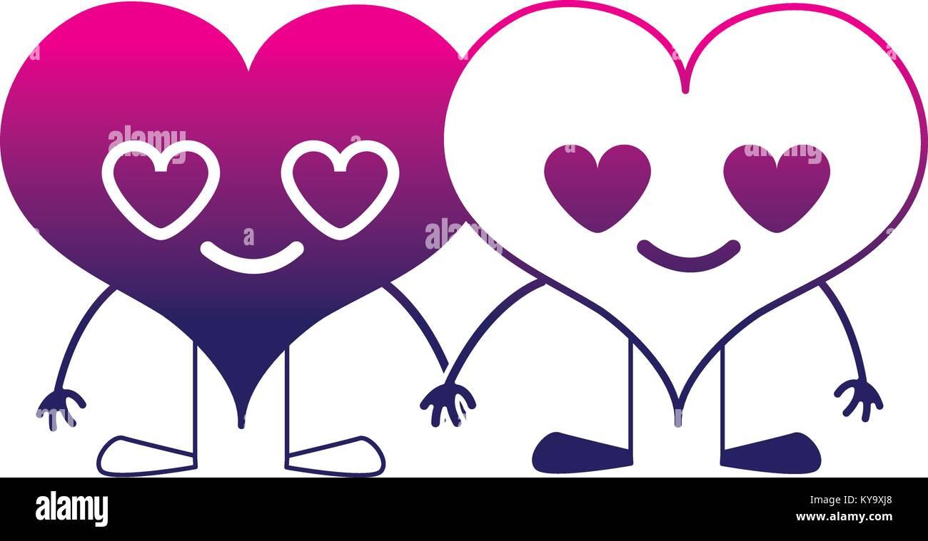 Couple Silhouette Coeur Dans L Amour Kawaii Dessins Animés