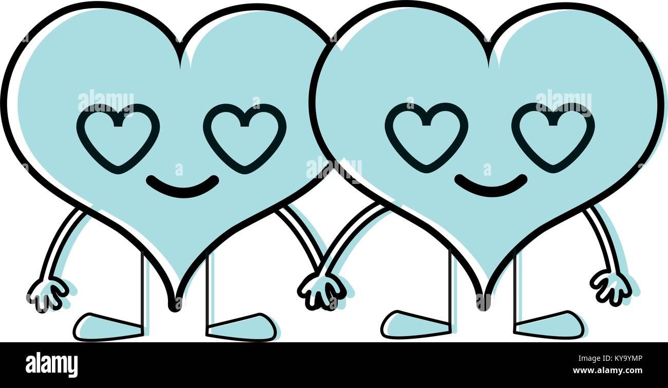 Couple Couleur Coeur Dans L Amour Kawaii Dessins Animés