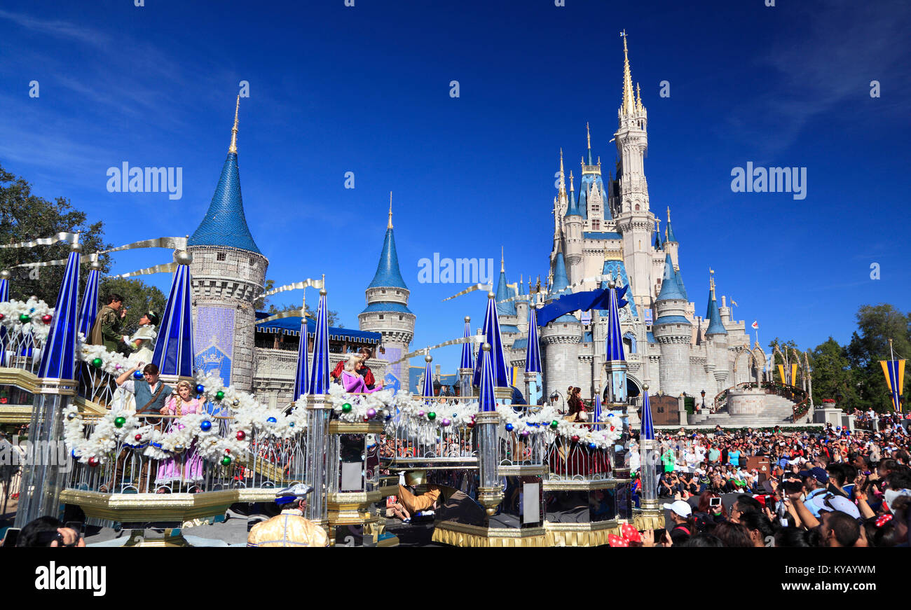 Parade de Noël dans la région de Magic Kingdom, Orlando, Floride Photo Stock