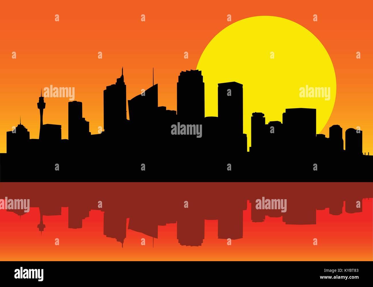 Image de vecteur silhouette ville de Sydney à l'aube avec grand soleil derrière la ville et la réflexion Photo Stock