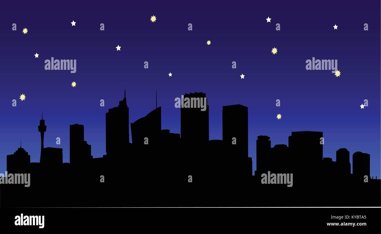 Image Vecteur de Sydney silhouette ville de nuit avec des étoiles. Photo Stock