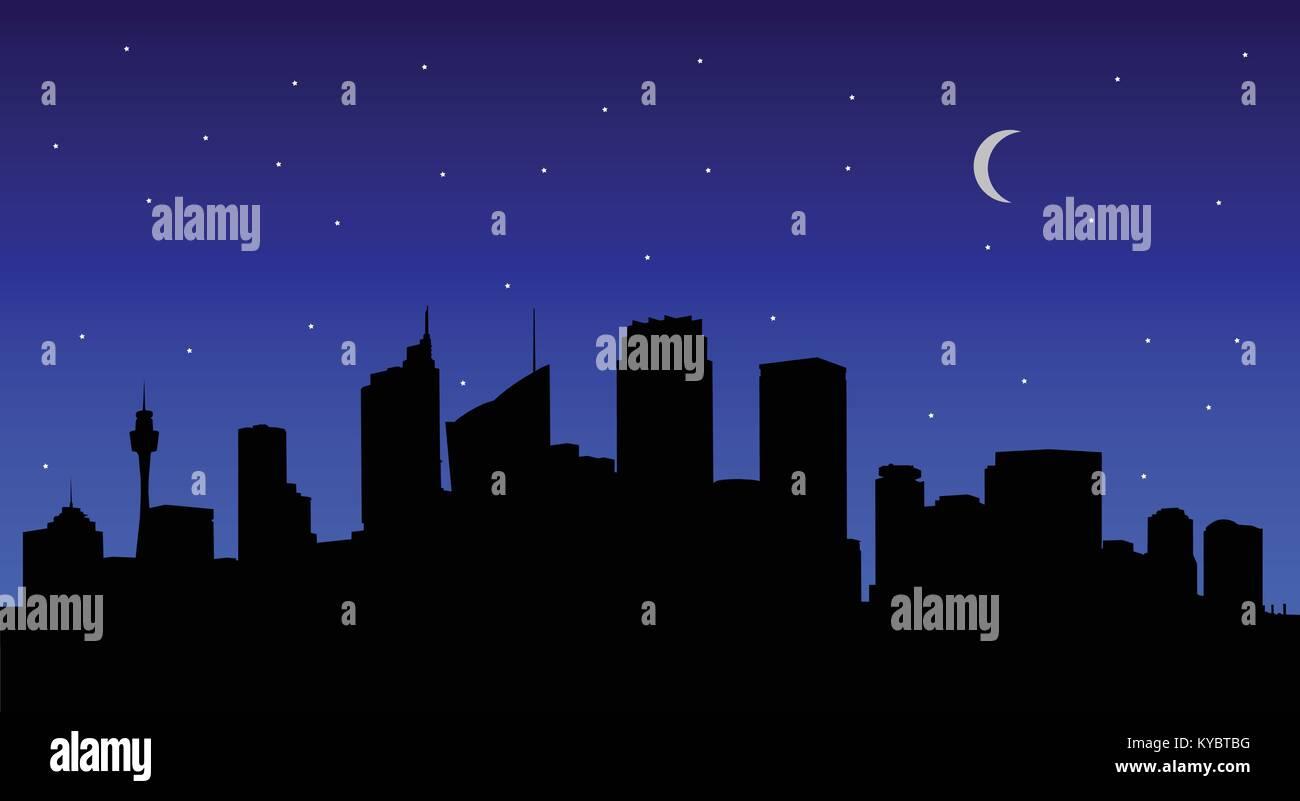 Image Vecteur de Sydney silhouette ville de nuit avec des étoiles et de la lune (croissant). Photo Stock