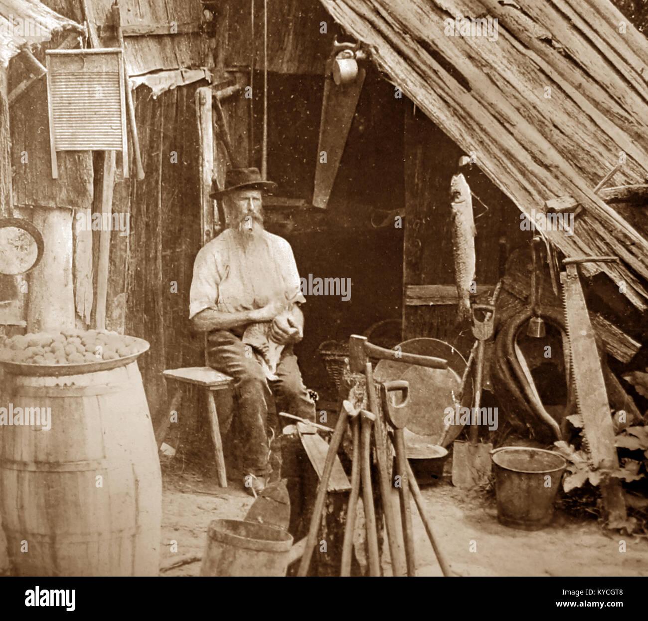 Un colon dans la région de Gippsland, Victoria, en Australie, la période victorienne Photo Stock