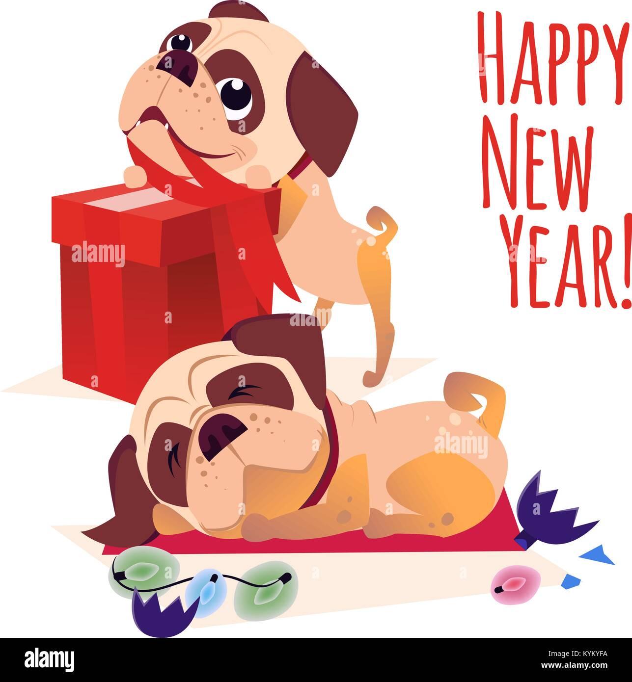 Joyeux Noel Carte Postale Bonne Annee Banniere Avec Chien Chien De