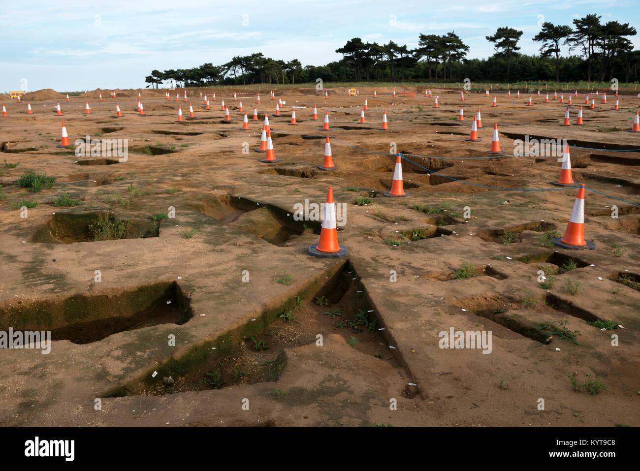 Fouille archéologique à l'emplacement du site de construction côtiers pour East Anglia Un parc éolien offshore, Banque D'Images