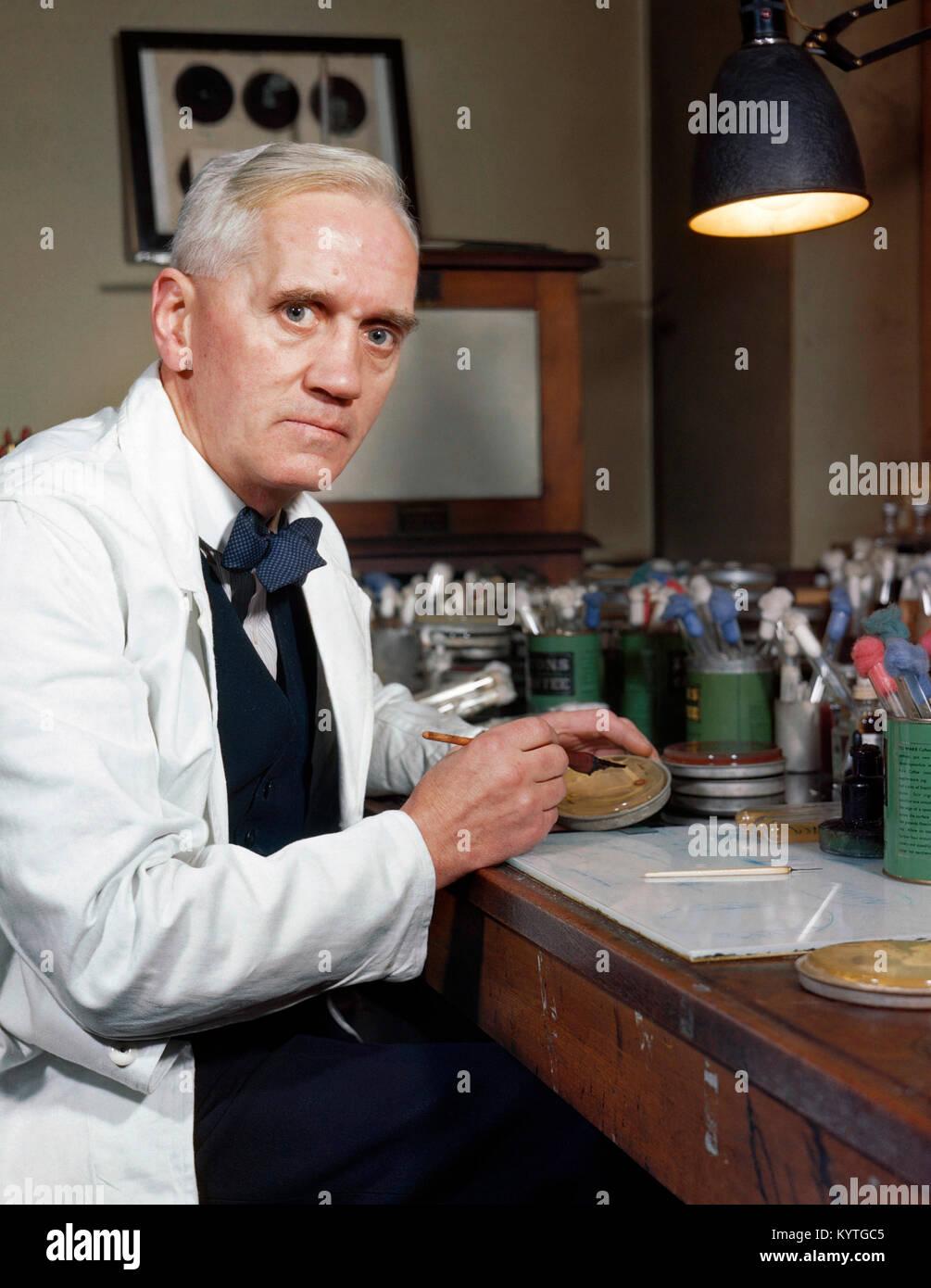 Sir Alexander Fleming (1881-1955), le savant écossais célèbre pour la découverte de la pénicilline. Photo Stock