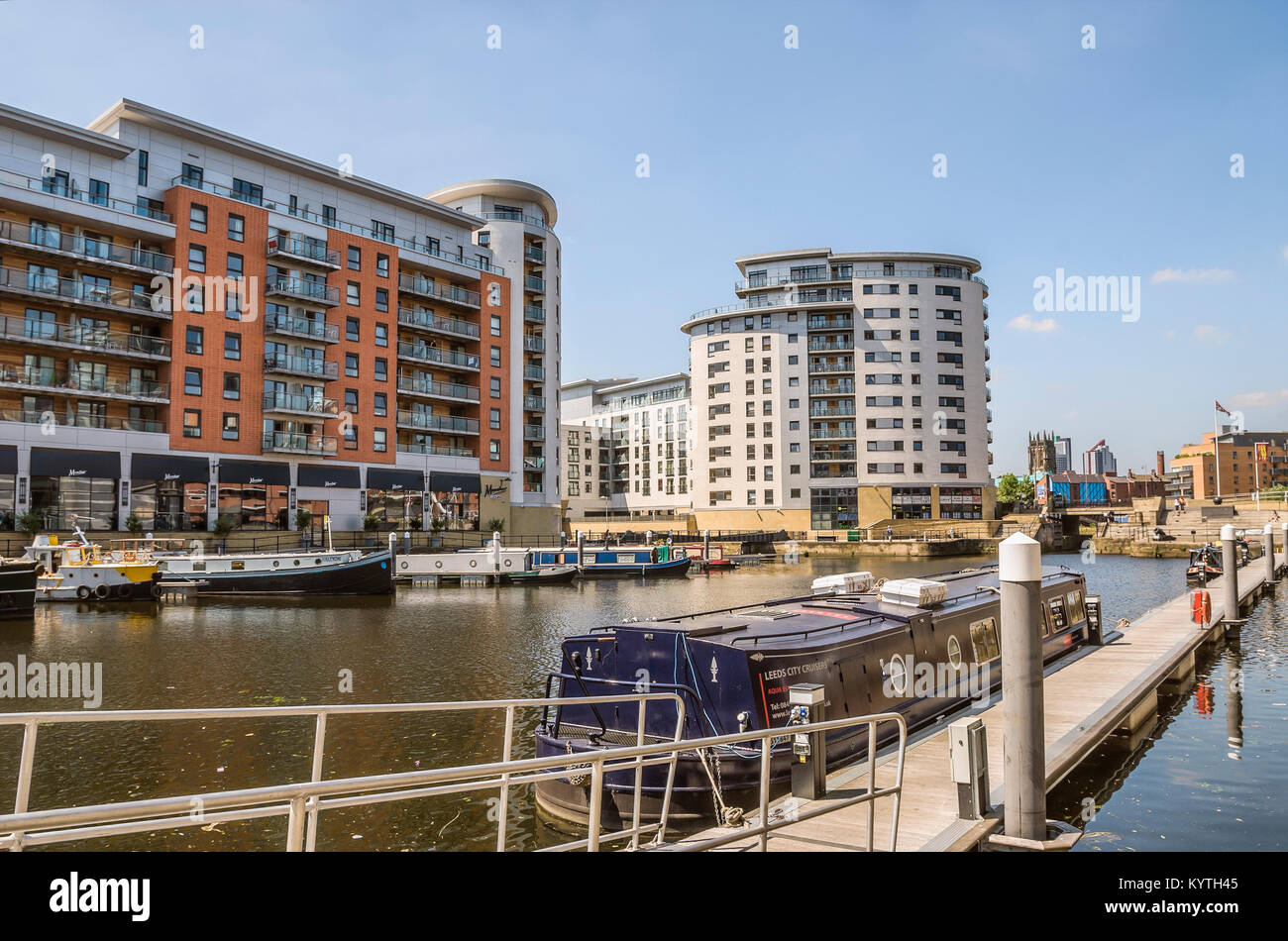 Clarence Dock à Leeds est une destination shopping et de loisirs au centre de Leeds, West Yorkshire, Angleterre. Photo Stock