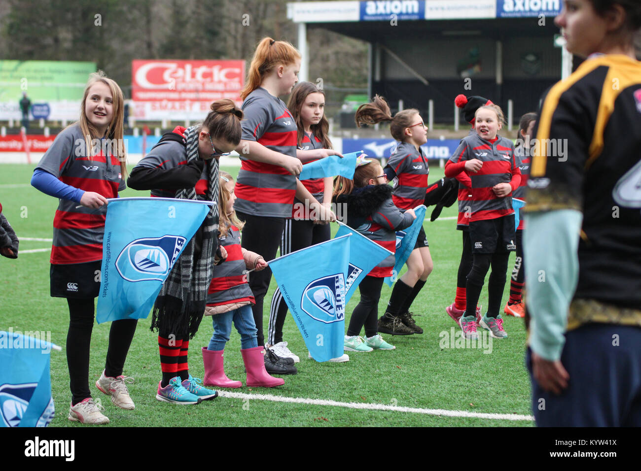 14 janvier 2018. Pontypridd RFC, le Pays de Galles. Cardiff Blues Mesdames match contre Ospreys Mesdames. Score final a été Ospreys 22-10 Cardiff Banque D'Images