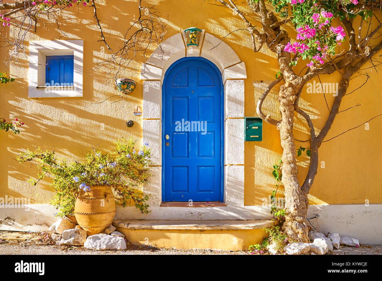 Maison traditionnelle grecque, village d'Assos, l'île de Céphalonie, Grèce Photo Stock