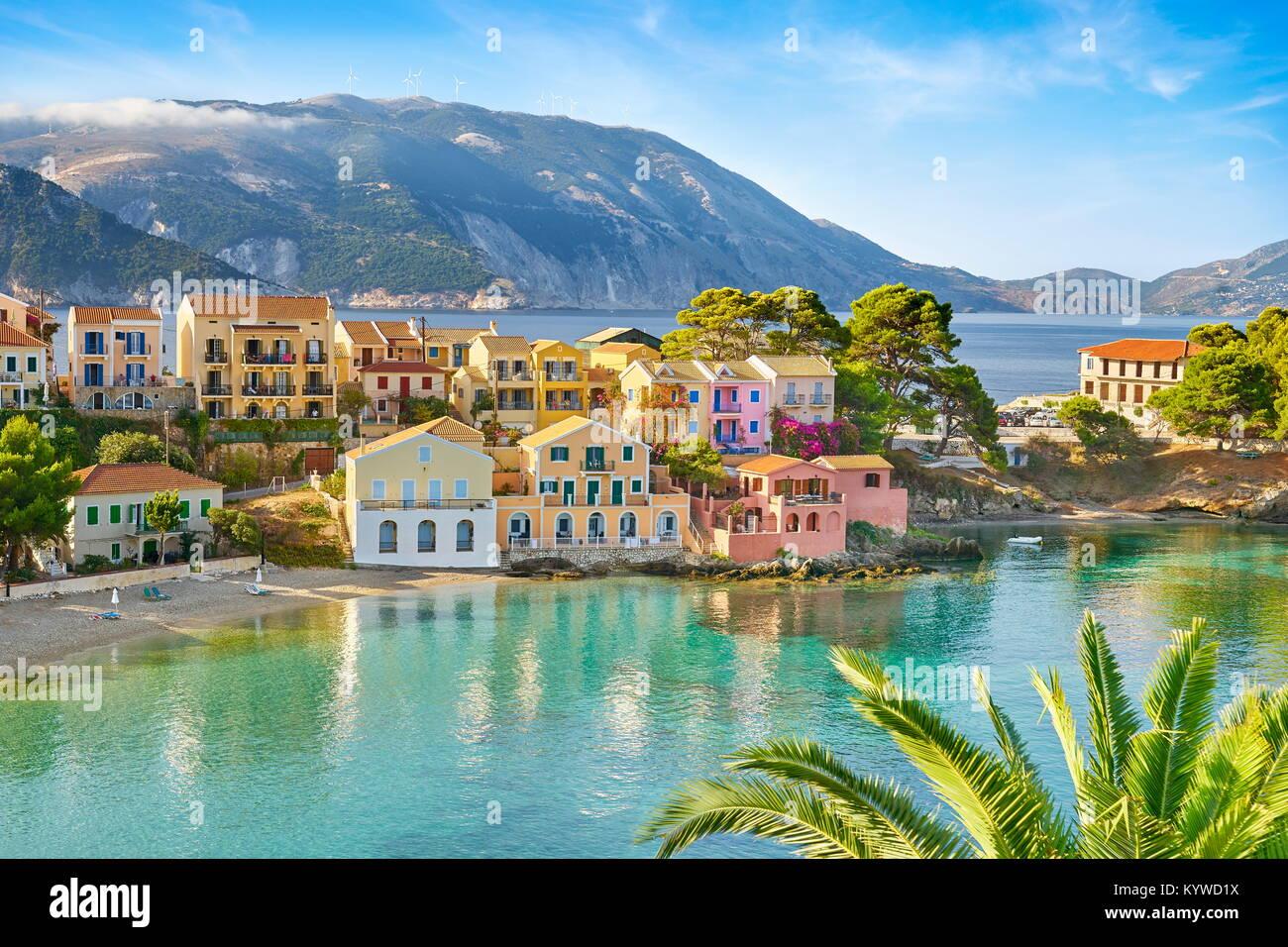 Village d'Assos, l'île de Céphalonie, Grèce Photo Stock