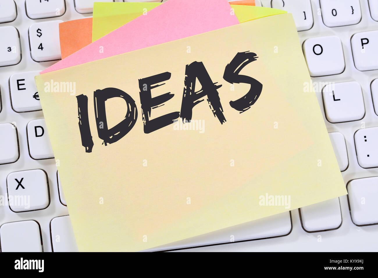 Le succès de la créativité croissance idées idée créative concept note papier clavier Photo Stock