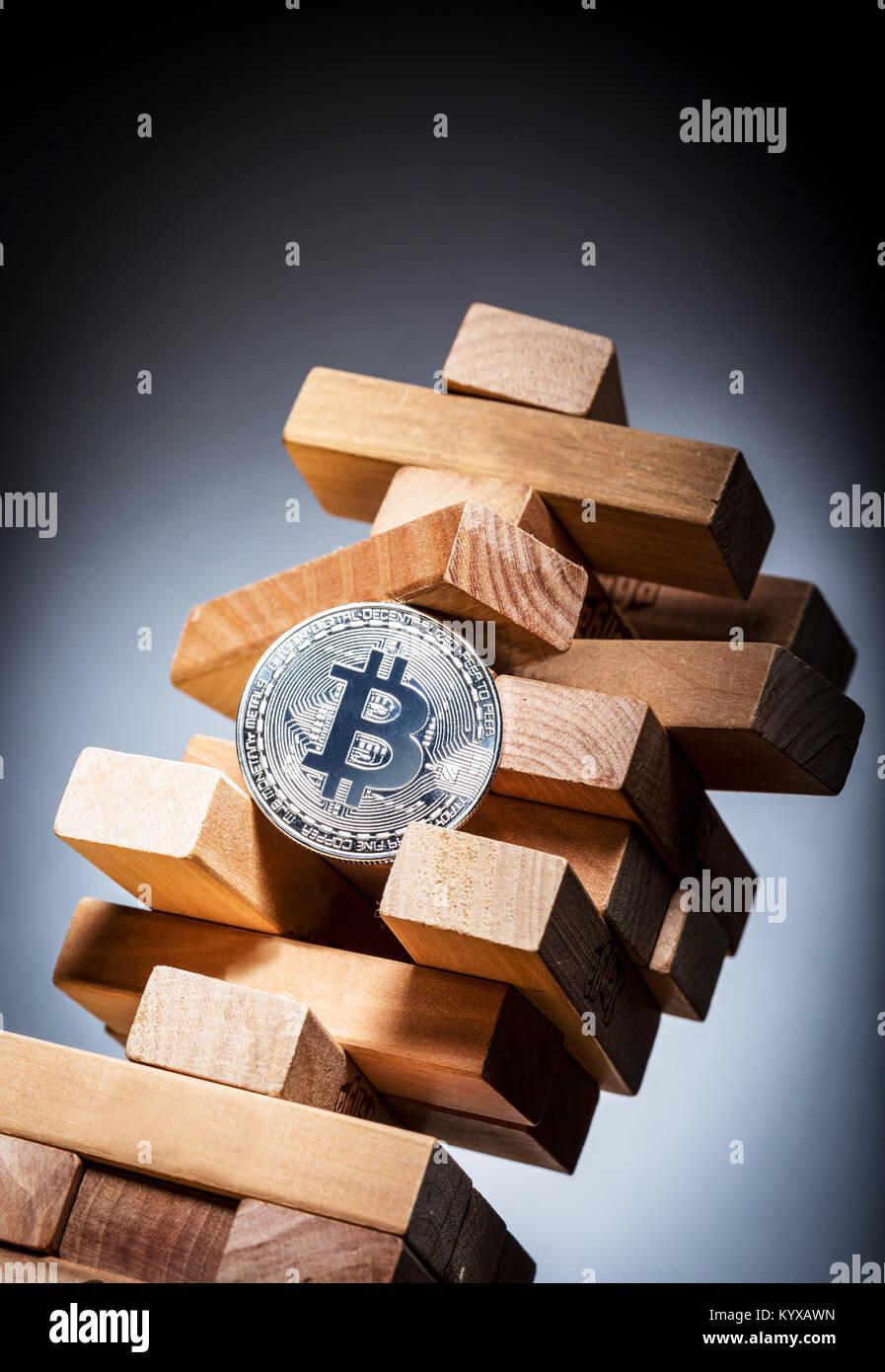 Risque de placement de l'image concept Bitcoin Photo Stock