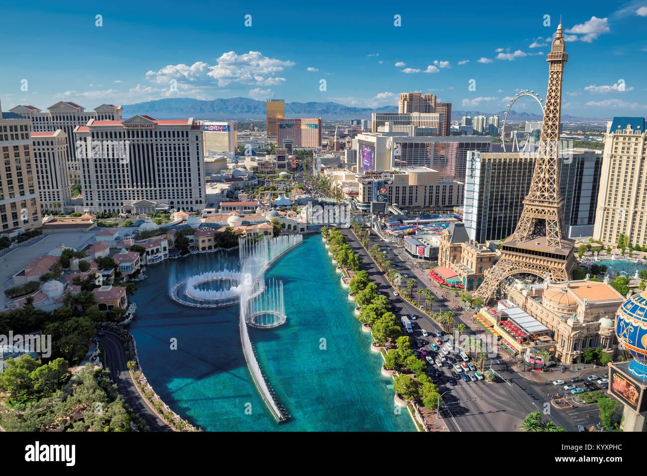 Vue aérienne de la Strip de Las Vegas à des jours ensoleillés. Photo Stock