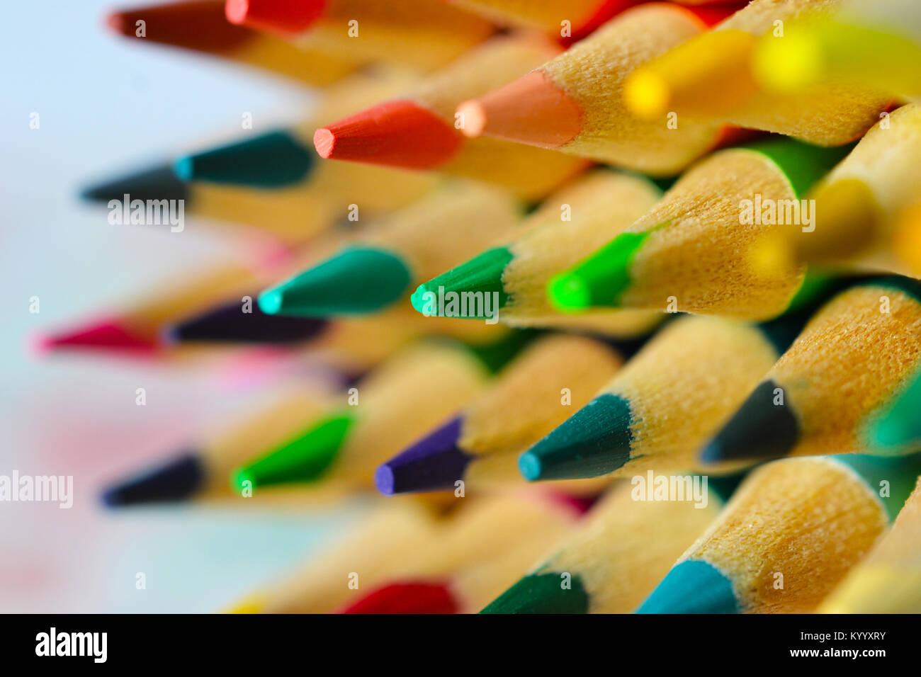 Crayon de couleur horizontale Conseils Photo Stock