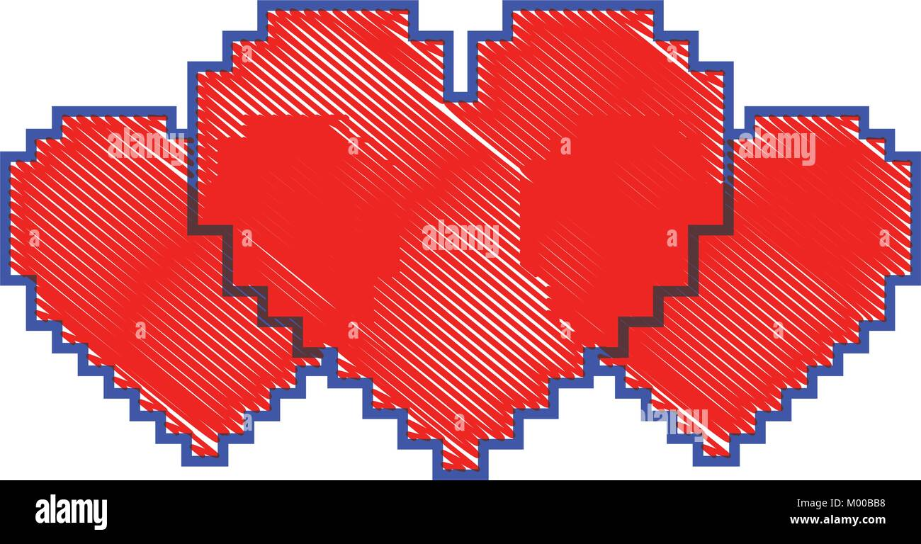 Ensemble De Pixels Cœur Amour Passion Vecteurs Et