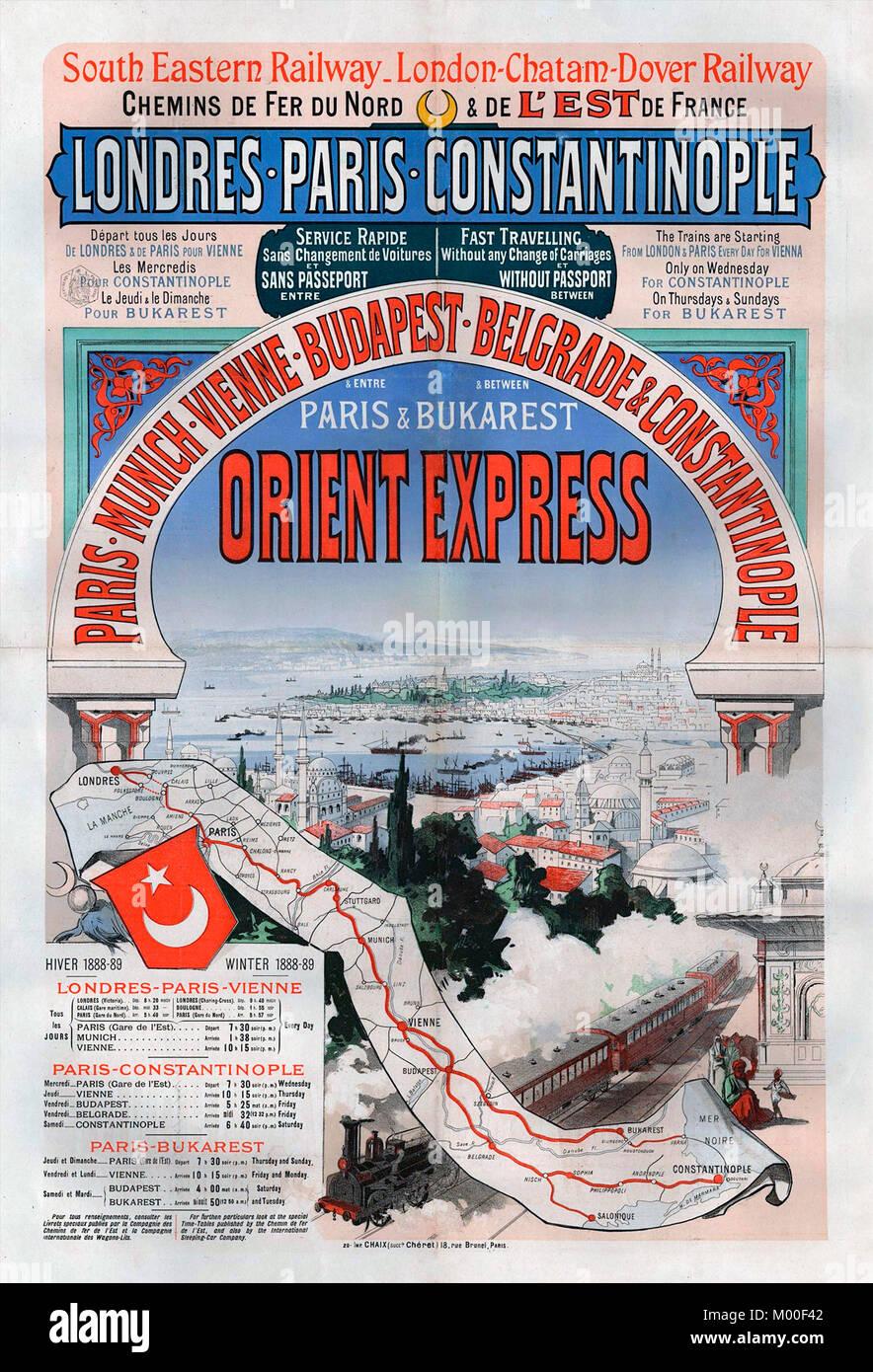 Affiche publicitaire de l'Orient Express voyage entre Londres et Constantinople (Istanbul) en 1888. Photo Stock