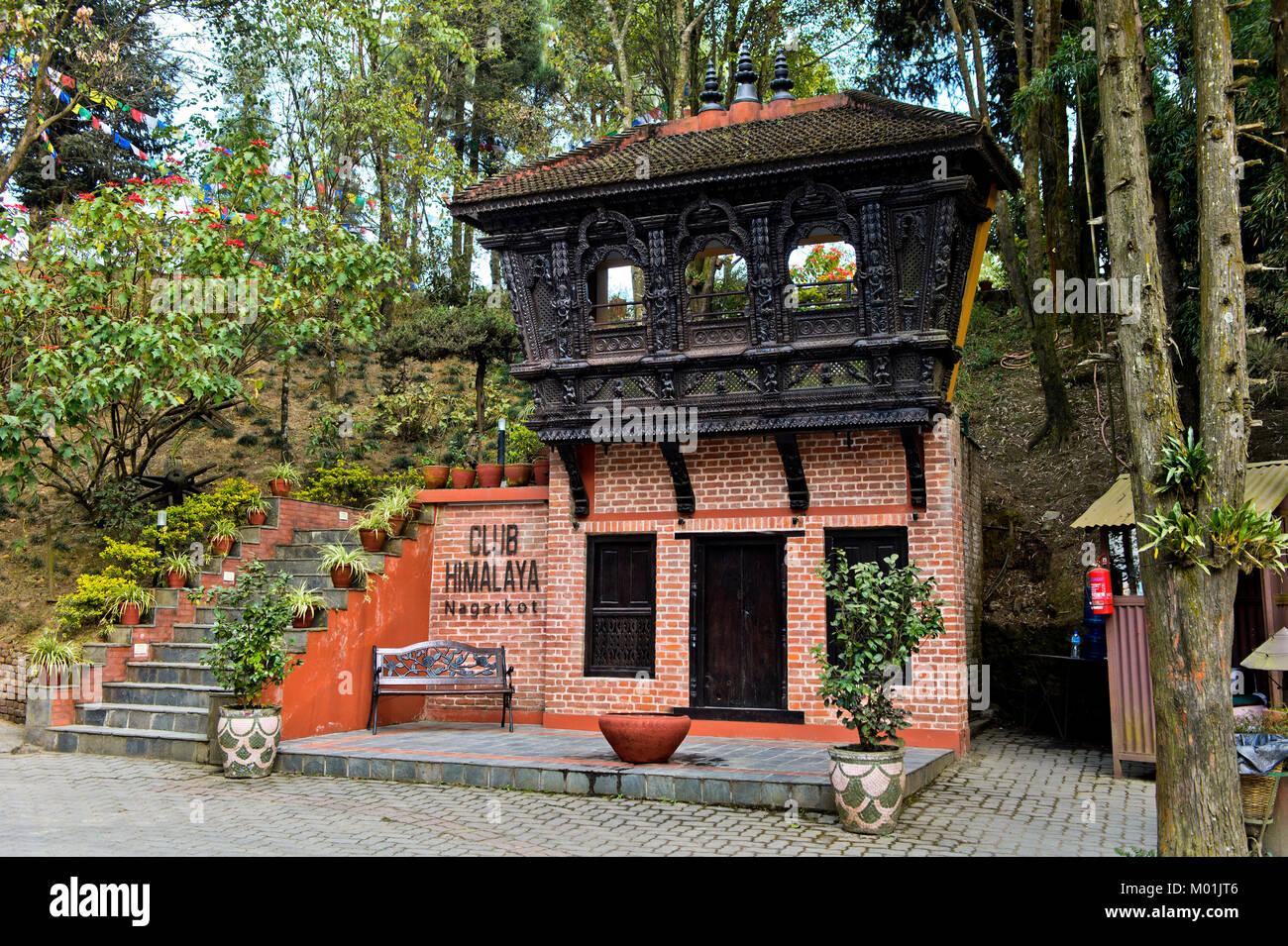 Entrée de l'hôtel, Club Himalaya Nagarkot, Katmandou, Népal Photo Stock