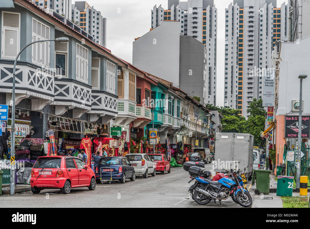 Dans les rues de Little India, à Singapour Photo Stock
