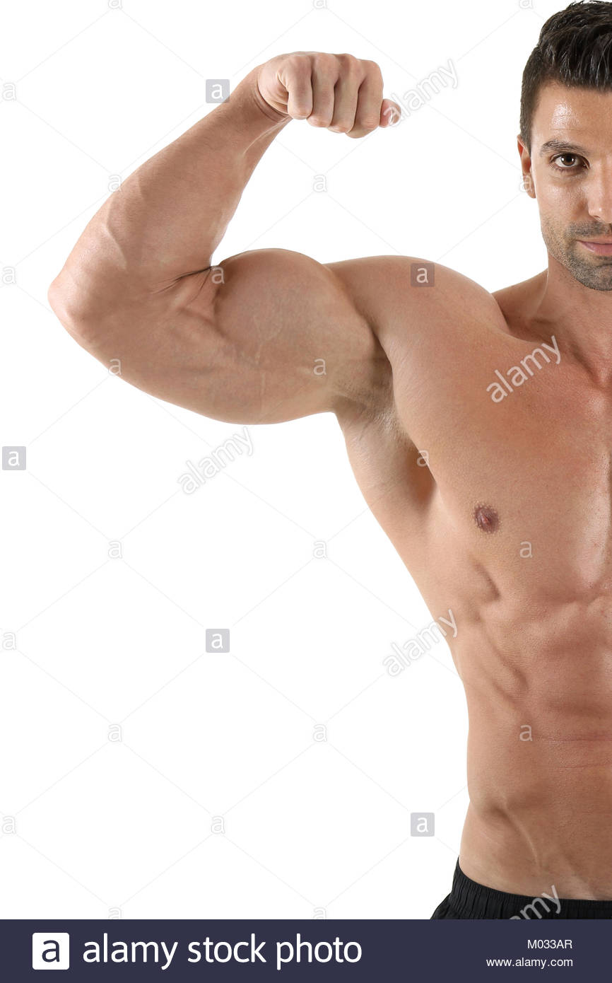 Beau mâle musclé posing in front of white background Photo Stock