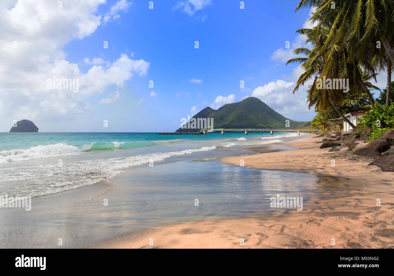 La plage des Caraïbes , la Martinique. Photo Stock