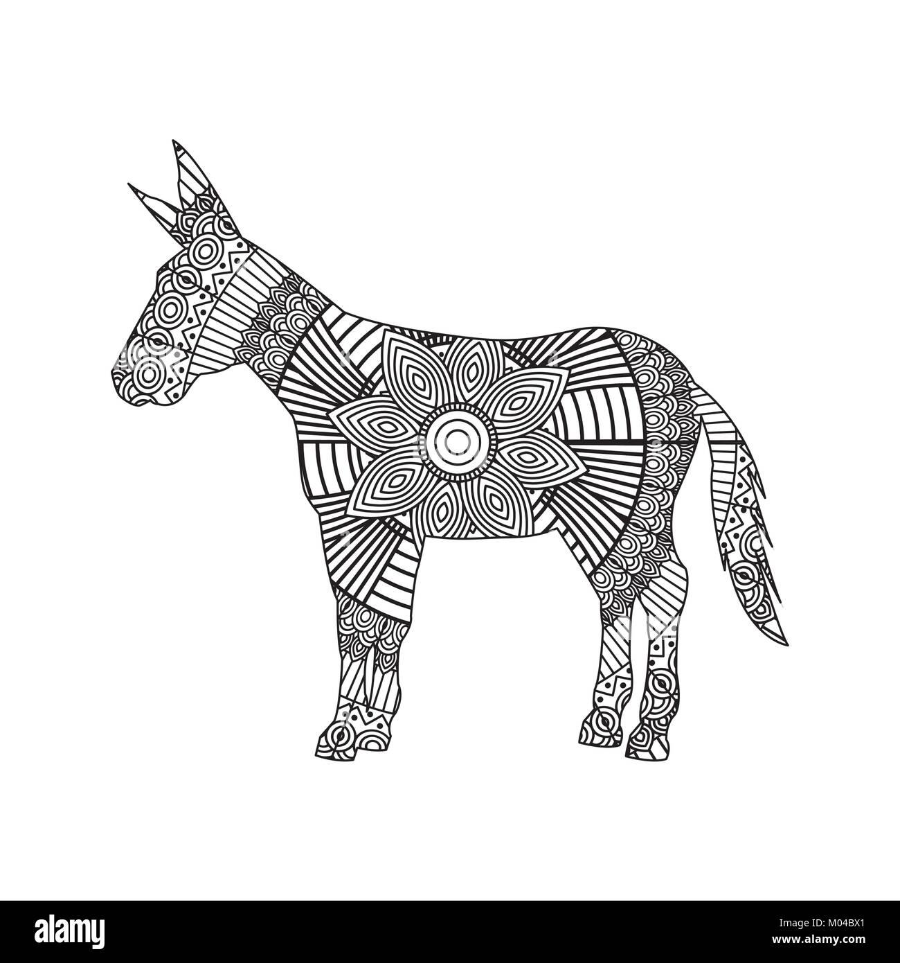 Zentangle De Dessin Pour Adultes âne Coloriage Vecteurs Et