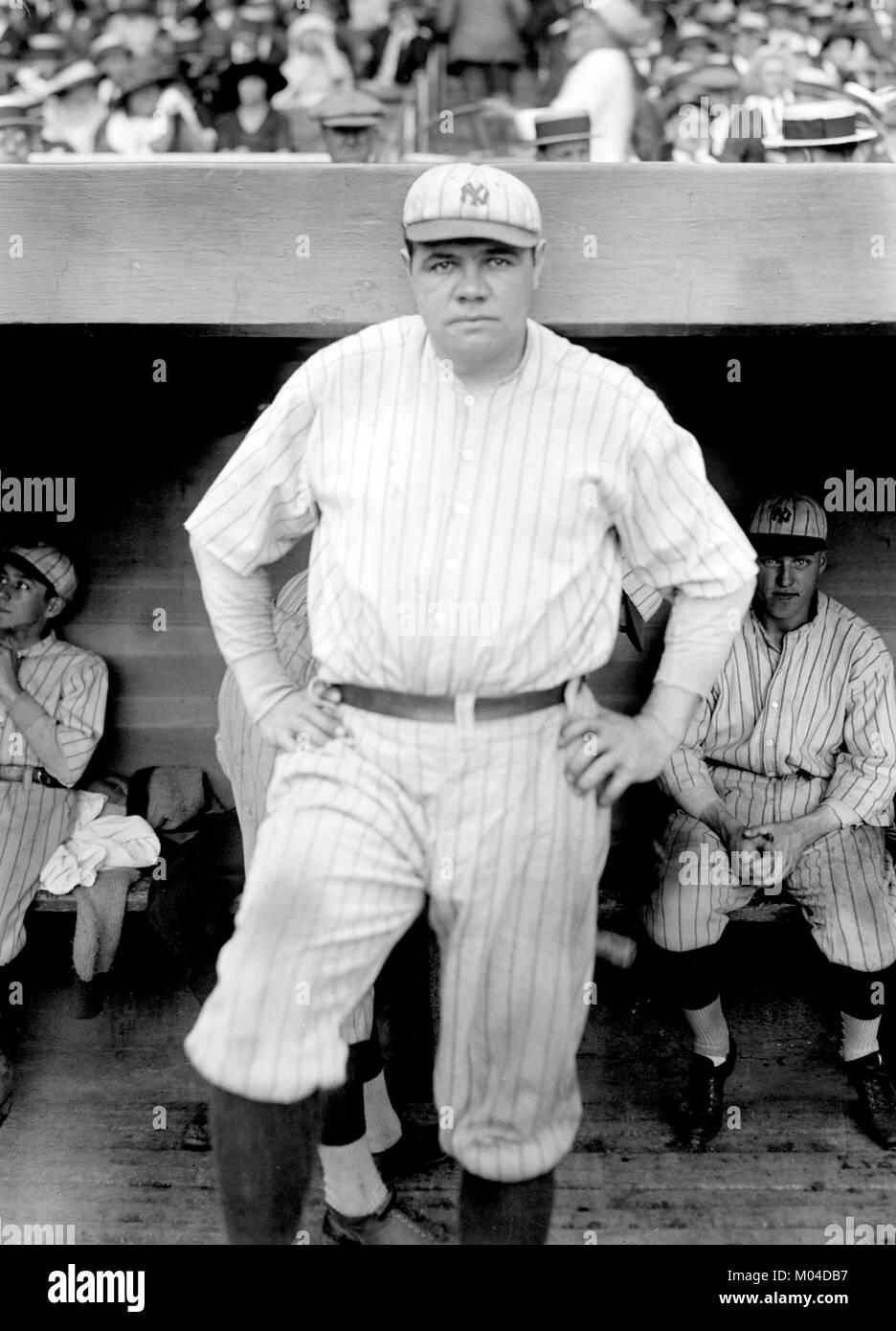 Babe Ruth. Le joueur de baseball américain George Herman Ruth 'Babe' Jr (1895-1948), jouant pour les Photo Stock