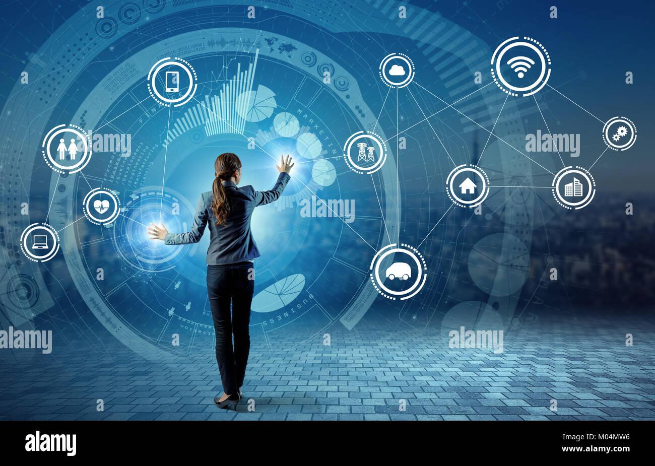 Internet des Objets (IoT) concept. Fintech(Financial Technology). Les TIC (technologies de l'information et des Banque D'Images