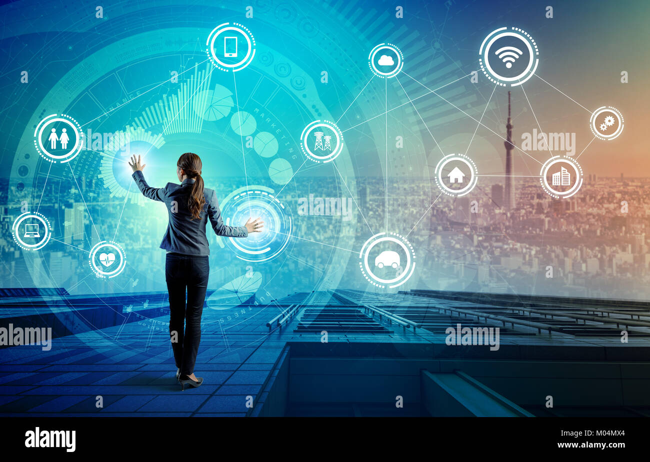 Internet des Objets (IoT) concept. Fintech(Financial Technology). Les TIC (technologies de l'information et Photo Stock