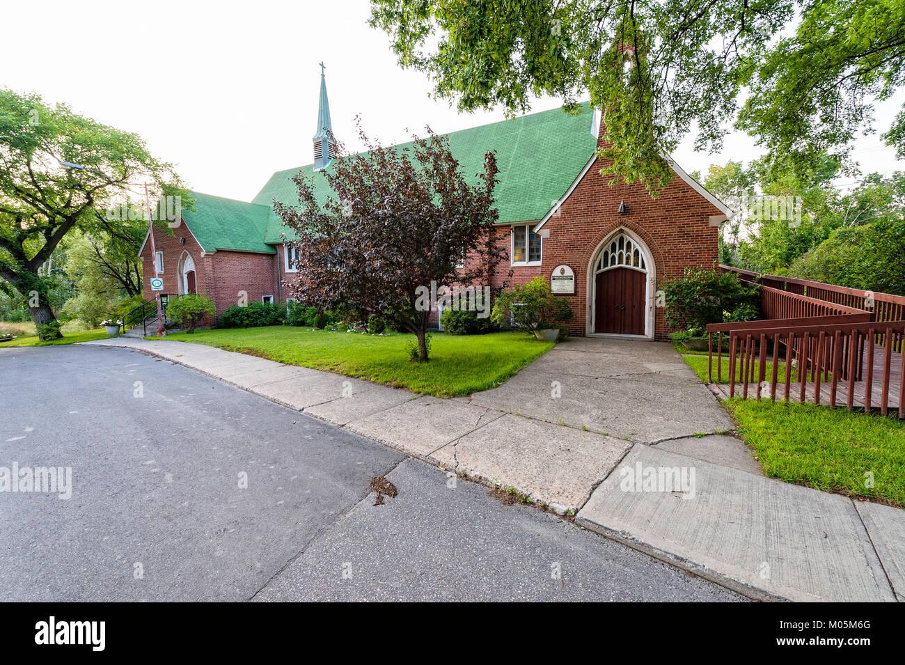 Ce lieu historique est l'église unie dans la ville de Copper Cliff (Ontario) Photo Stock