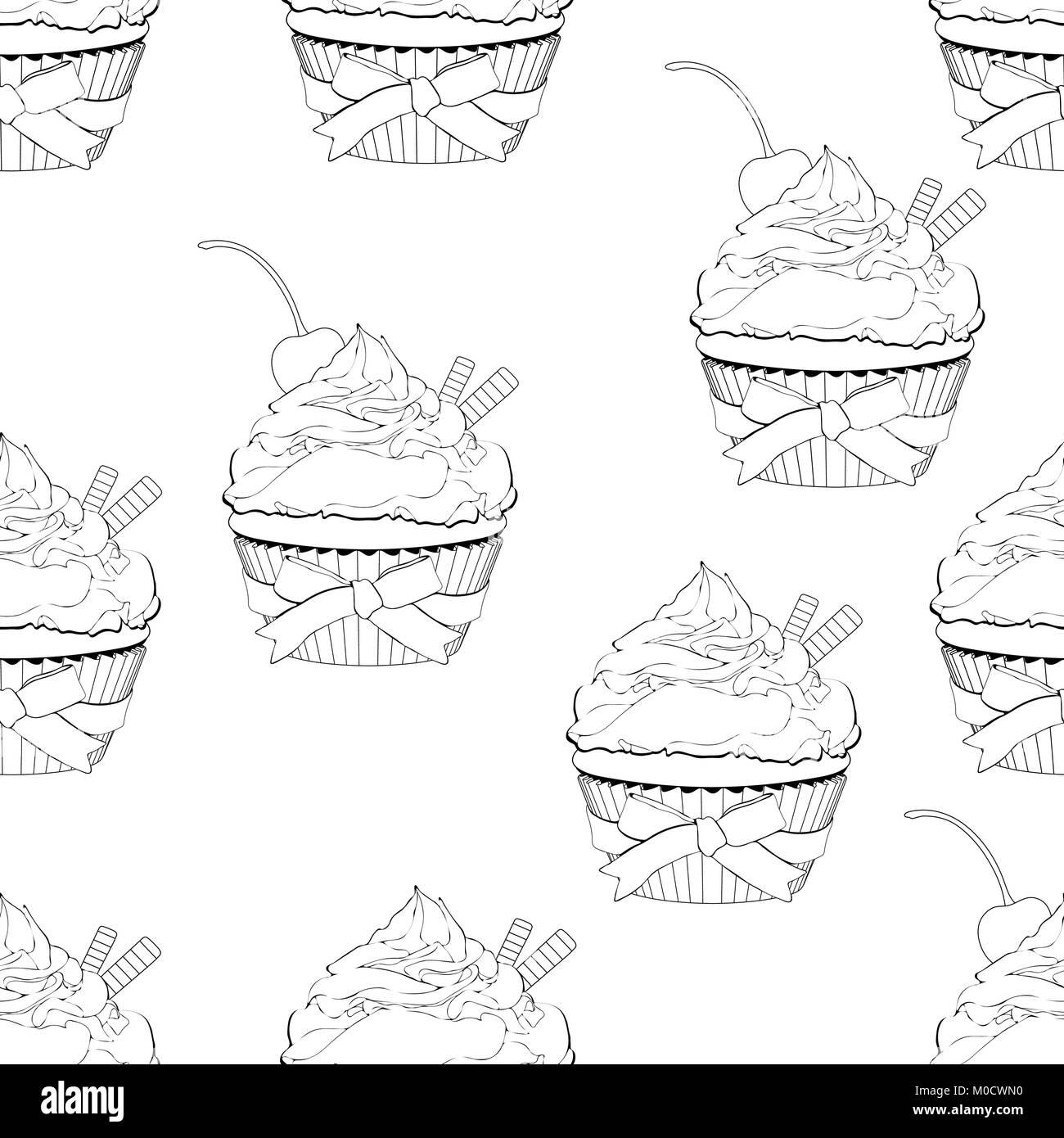 Modèle Sans Couture Cupcake Vector Illustration Contour