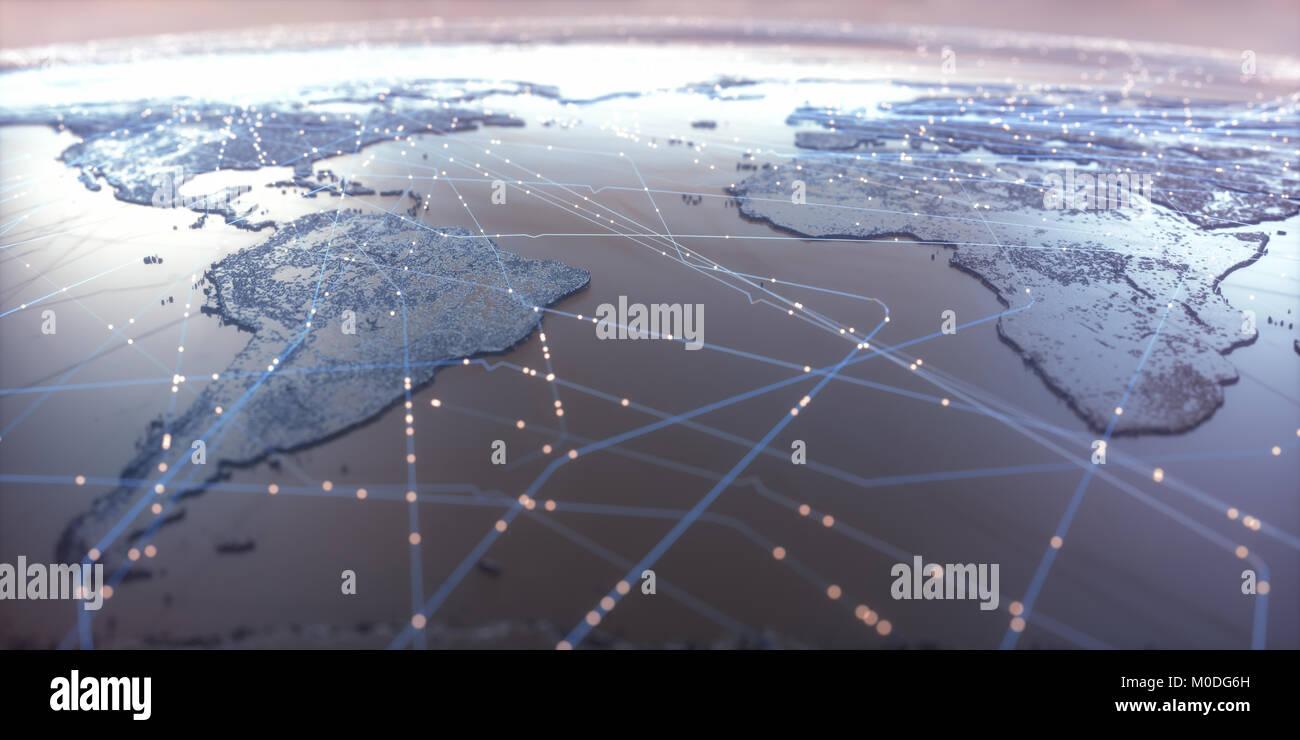 Carte du monde avec les connexions de données par satellite. La connectivité à travers le monde. Photo Stock