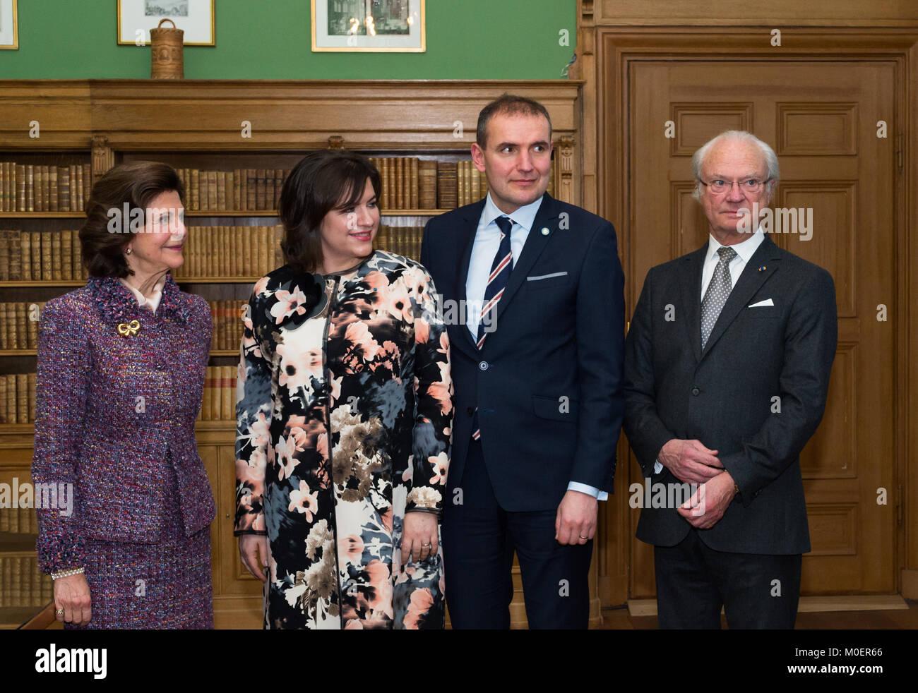 Stockholm, Suède, le 19 janvier, 2018. Du 17 au 19 janvier, le président de l'Islande Guðni Thorlacius Jóhannesson, visiter la Suède. Banque D'Images