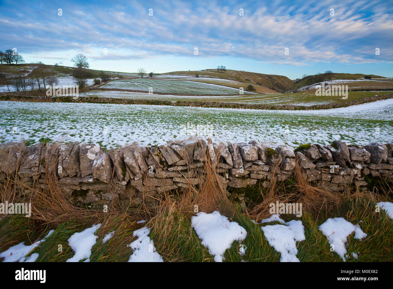 Parc national de Peak District, Stanshope, Ashbourne, Derbyshire, Royaume-Uni. Janvier Photo Stock