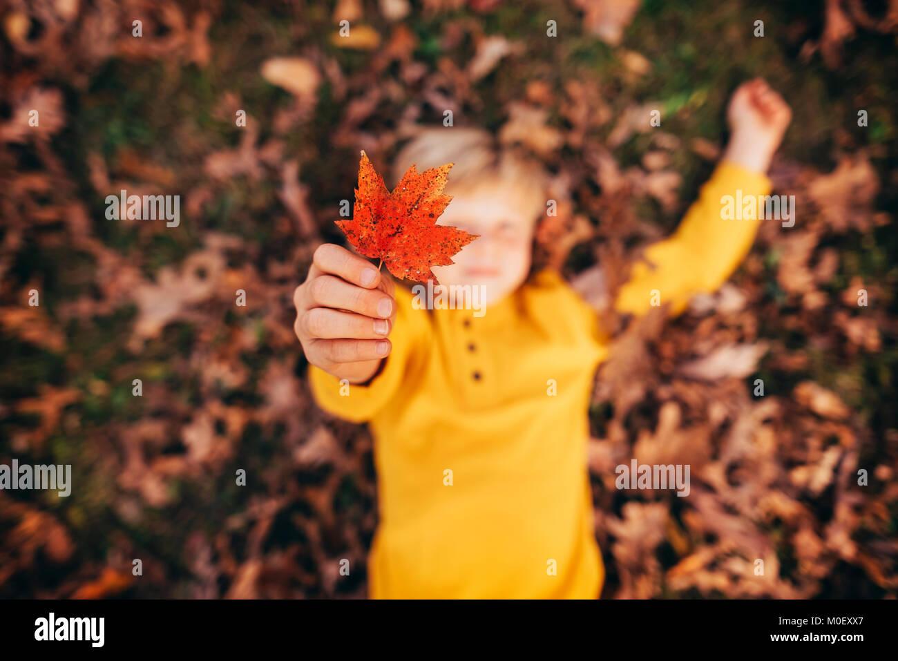 Garçon couché dans les feuilles d'automne holding up a leaf Photo Stock