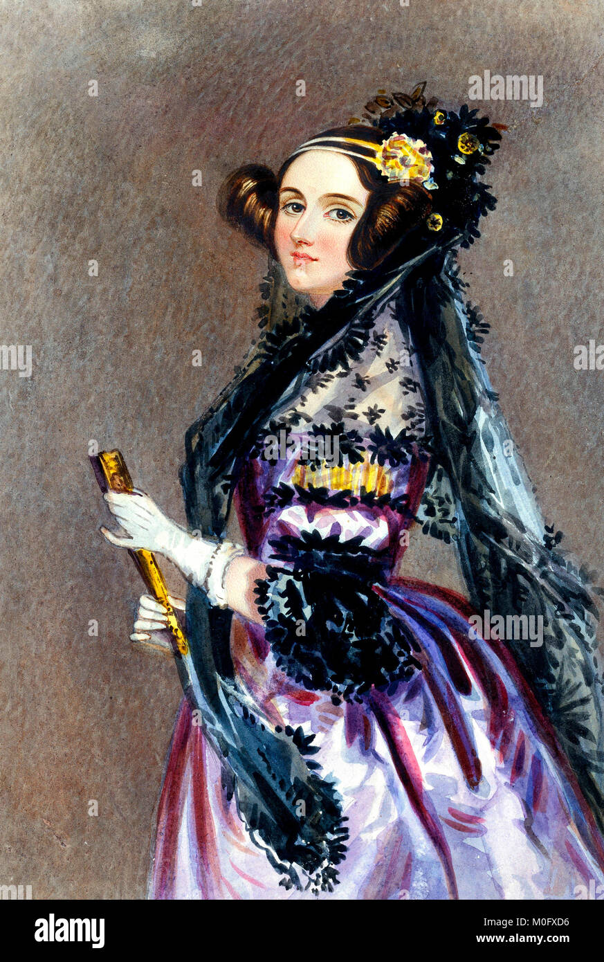 Portrait à l'aquarelle d'Ada King, Comtesse de Lovelace (Ada Lovelace) - Alfred Edward Chalon 1840 Photo Stock