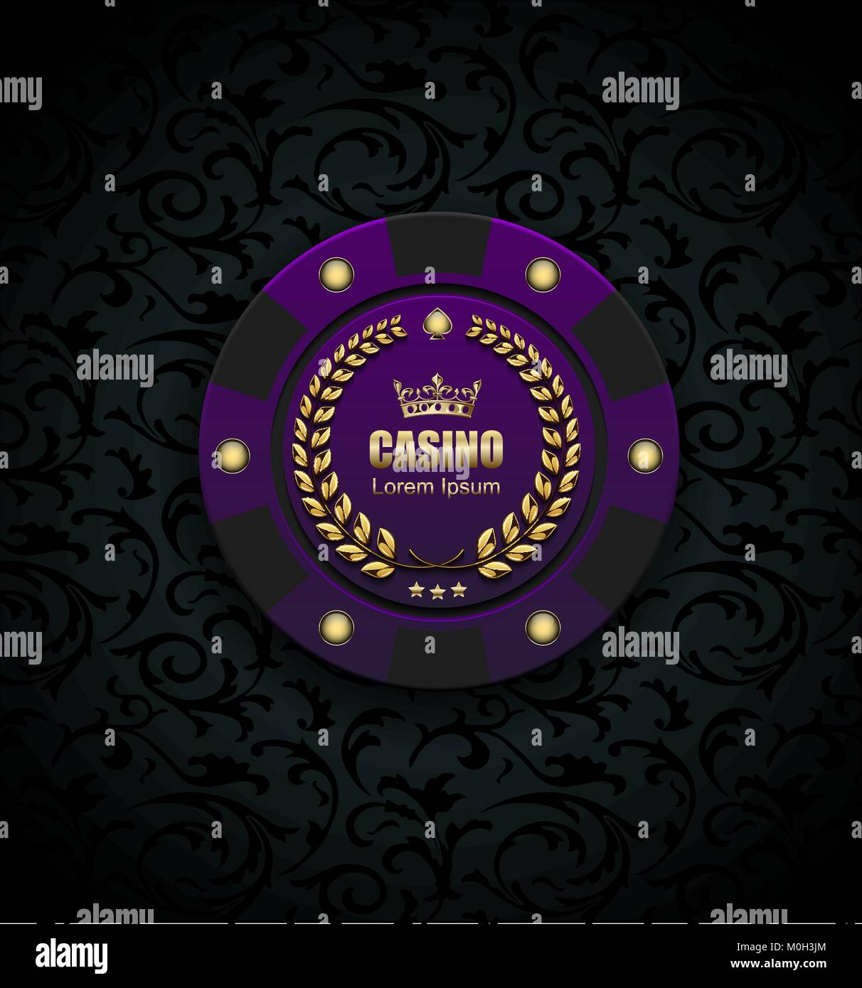 Luxe VIP Poker Chip casino purple vecteur logo concept. Club Poker Royal emblème avec couronne d'or, couronne Photo Stock
