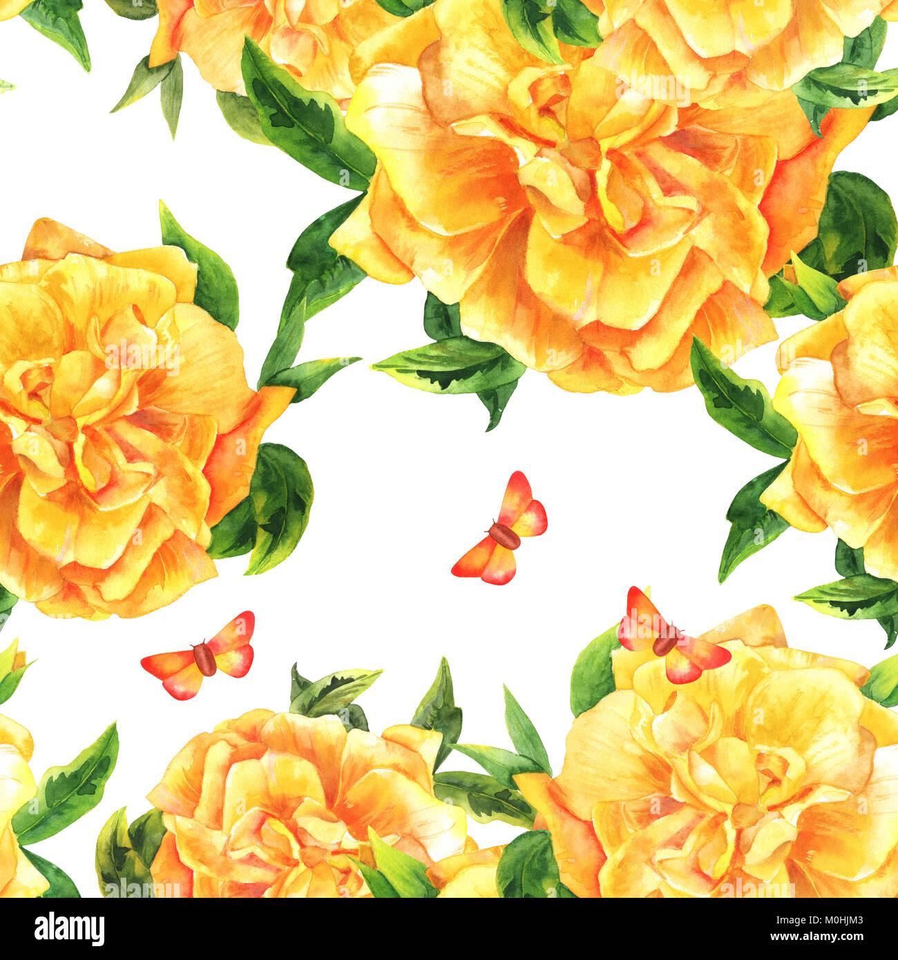Un Modele Sans Couture Avec Une Aquarelle Dessin D Une Fleur Rose