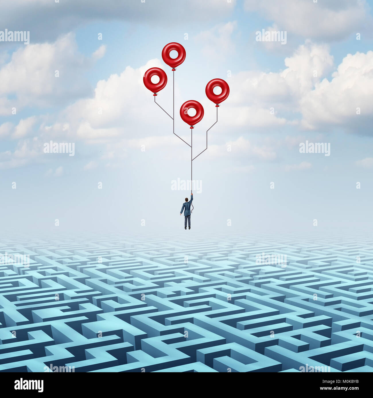 Solution technologique et l'innovation de haute technologie comme métaphore d'un businessman holding Photo Stock
