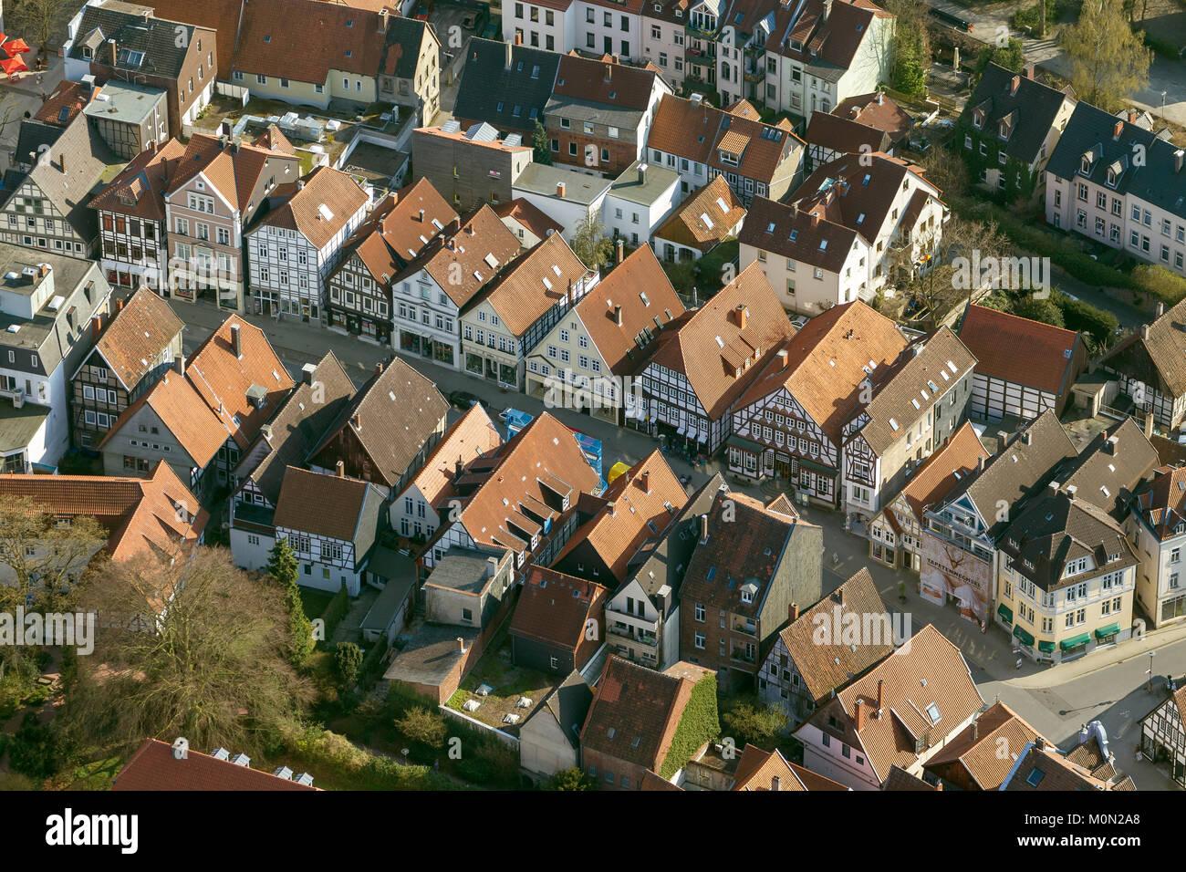 Krummestraße avec maisons à colombages, photographie aérienne de Detmold, Düsseldorf, Rhénanie du Nord-Westphalie, Allemagne, Europe, vue aérienne, les oiseaux-lunettes de vue, Banque D'Images
