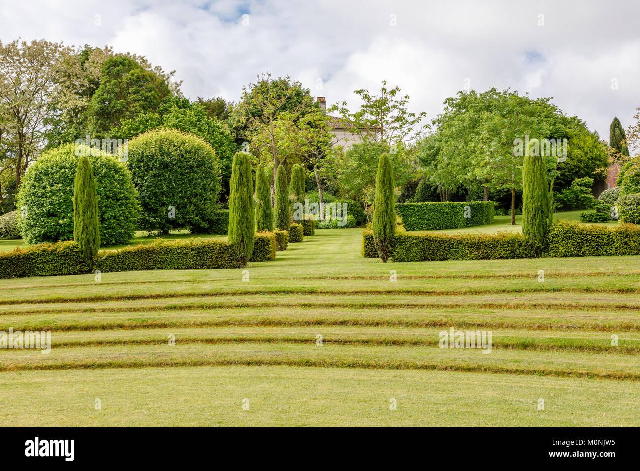 Theatre de verdure (théatre de verdure) dans les jardins de la résidence Les Jardins du Château du Photo Stock