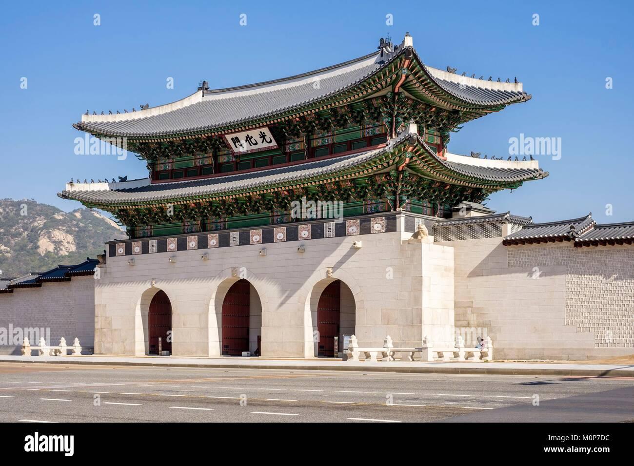 La Corée du Sud, Séoul, Jongno-gu district,Gyeongbokgung Palace ou le Palais de Gyeongbok,porte Gwanghwamun Banque D'Images
