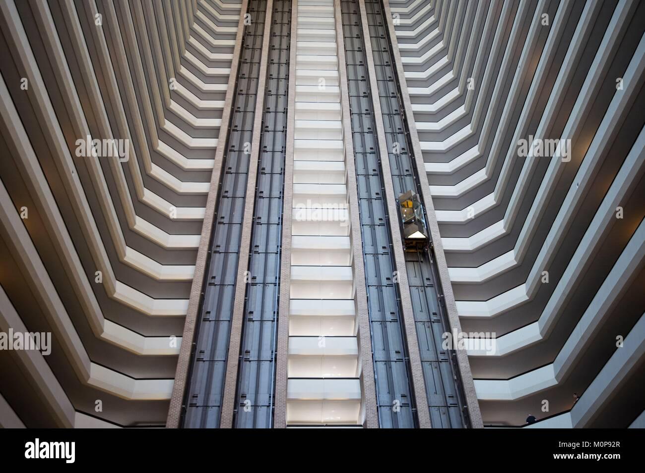 États-unis, Louisiane, Nouvelle Orléans,ascenseur de l'hôtel Photo Stock