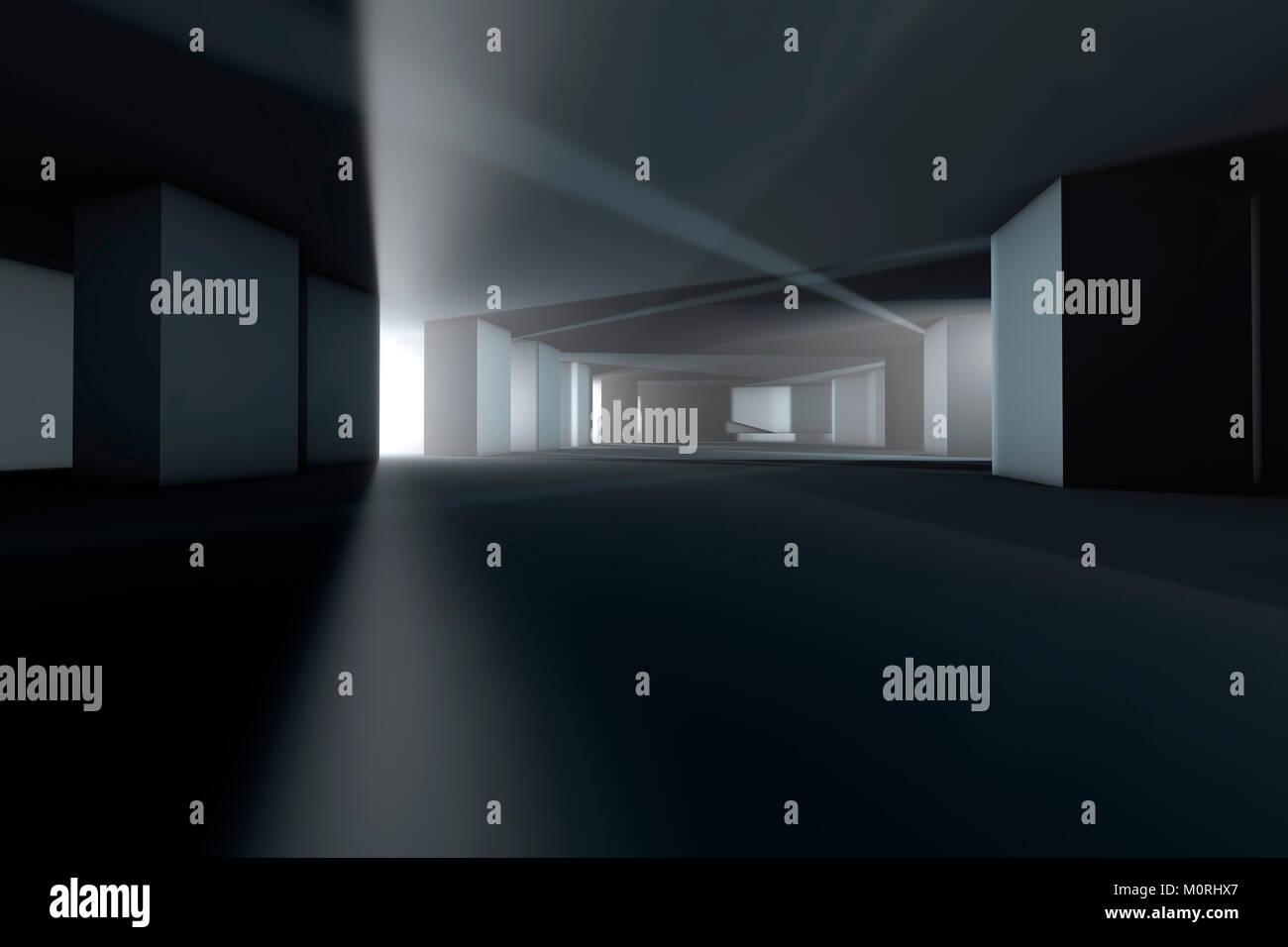 La visualisation de l'architecture d'un bâtiment vide, 3D Rendering Photo Stock
