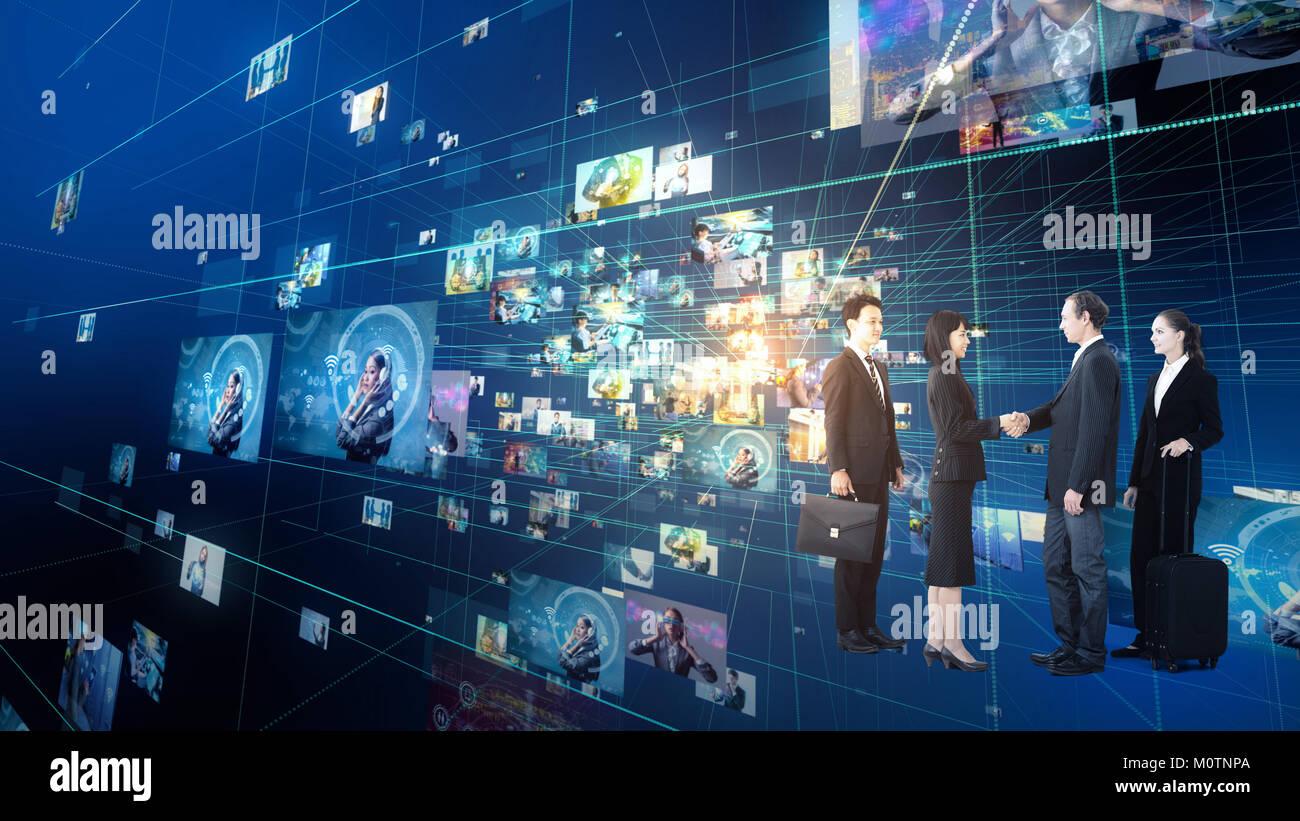 Groupe de gens d'affaires dans le cyberespace. IoT (Internet des objets). Réseau de communication de l'Information(TIC). Photo Stock