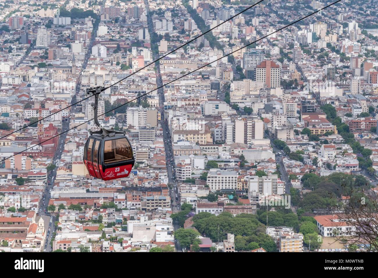 L'Argentine, la province de Salta, Salta, San Bernardo Hill Cable Car Photo Stock
