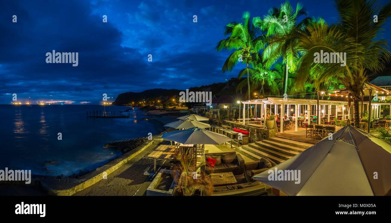 Pays-bas,Saint Eustache,Oranjestad,restaurant sur la plage,crépuscule Banque D'Images