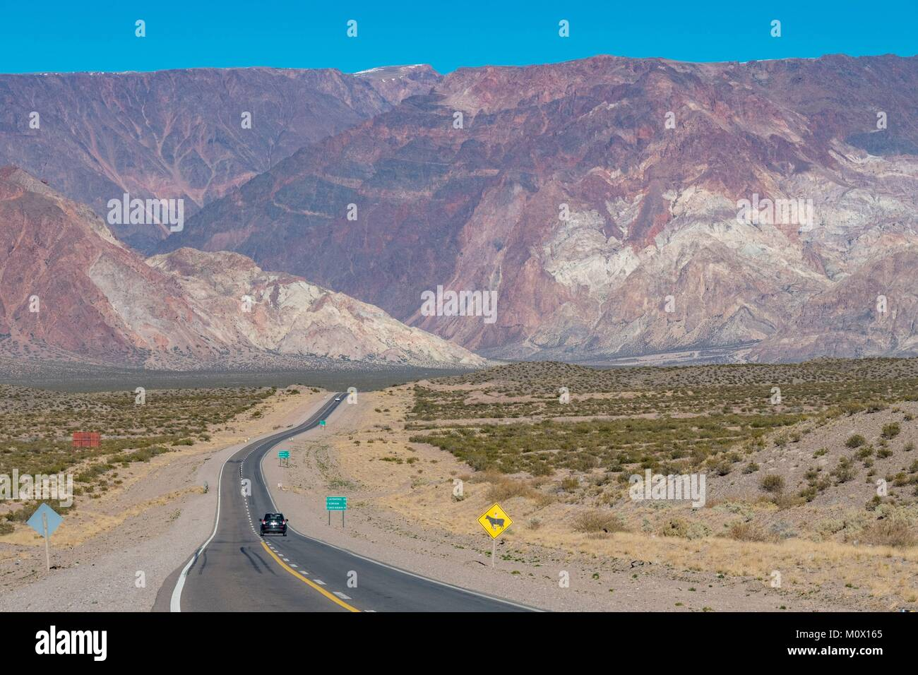 L'Argentine, la Province de Mendoza,Polvaredas,RN 7 Route de frontière chilienne Photo Stock