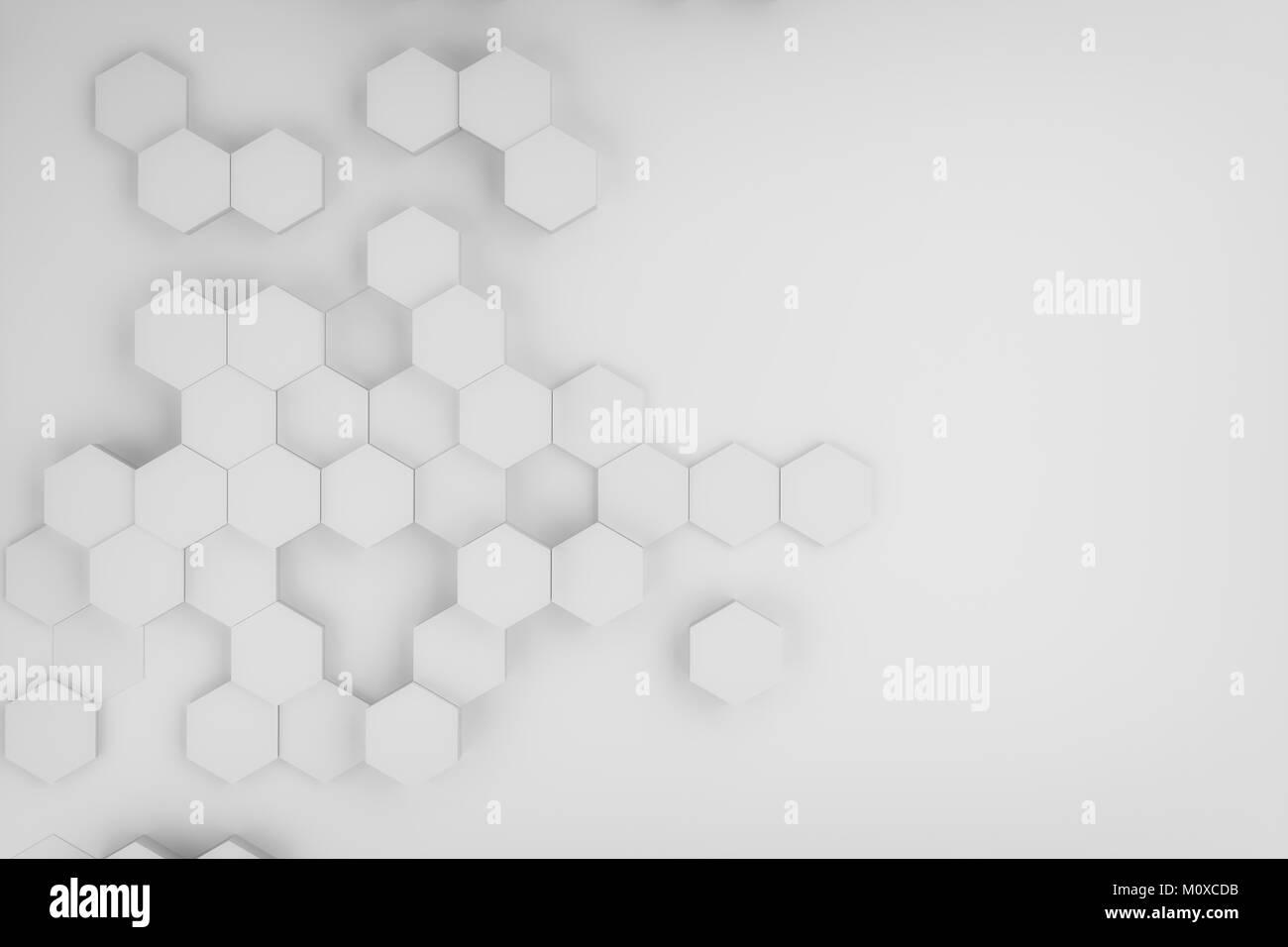 Le rendu 3D de résumé contexte hexagonal Photo Stock